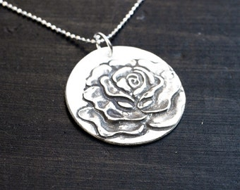 Rose Necklace - Silver Rose Charm - Rose Pendant - Flower Necklace - Flower Charm - Anniversary Gift, Bridesmaid Jewelry, Gift for Her