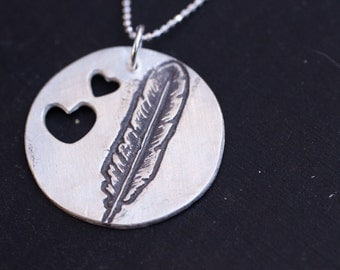 i love feathers - feather necklace - silver feather necklace - heart feather necklace - love feather necklace - feather charm necklace