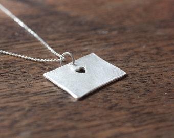 i heart Colorado State Necklace - Silver Colorado Necklace Colorado State Charm CO State Necklace CO Personalized State Necklace With Heart