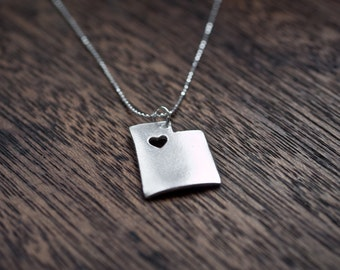 Utah State Necklace - Silver - Utah Necklace UT State Necklace Personalized Utah State Necklace State Shaped Necklace With Custom Heart