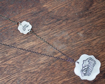 mountain love necklace - sterling silver mountain necklace - mountain pendant - mountain charm - i love mountain - mountain heart - acorn