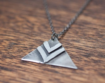 military necklace - chevron necklace - triangle necklace - triangle jewelry - triangle pendant - chevron jewelry - chevron pendant