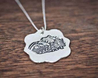 Rush Mountain Pendant - Silver Mountain Necklace - Winter Jewelry - Mountain necklace - Silver