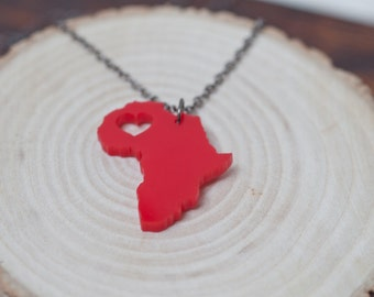 Africa Necklace - Red Acrylic Africa Country Necklace Africa Charm Africa State Love With Heart African