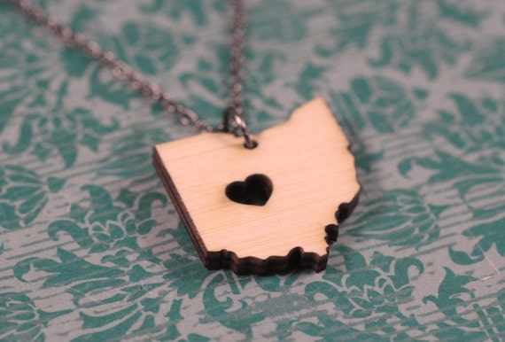 Ohio Necklace - Bamboo - Wooden Ohio State Necklace Ohio State Charm OH State Shaped Necklace Ohio State Jewelry State Necklace With Heart