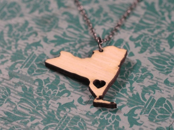 New York State Necklace - Wooden - New York Necklace I Heart NY Necklace NYC Necklace With A Heart New York Jewelry Times Square Bamboo