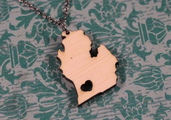 Michigan State Necklace - Bamboo Michigan Lowe Peninsula Necklace Wooden MI State Necklace Michigan With Heart State Charm I Love Mitten