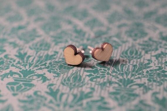 Wood Heart Earring | Wood Heart Earrings | Heart Earrings | Wood Earring Stud | Rustic Wedding Earrings | Hypoallergenic Earring Stud