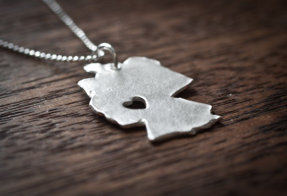 i heart Germany Custom Country Necklace Germany Necklace Silver Country Love Heart Pendant Jewelry Hometown Map Personalized Handmade
