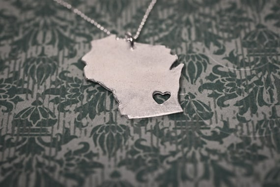 i heart Wisconsin State Necklace - Silver - Wisconsin Necklace WI State Love Necklace State Jewelry Personalized Necklace WI Necklace Cheese