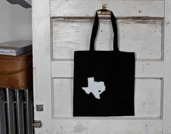 I heart Texas screenprinted tote bag.