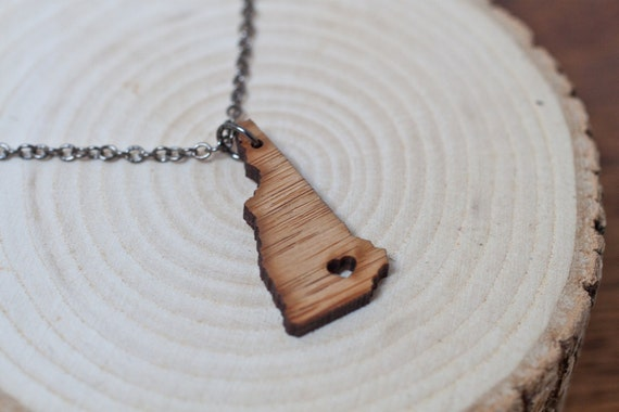 New Hampshire State Necklace - Bamboo New Hampshire Necklace New Hampshire Jewelry Portsmouth Charm NH Pendant State Love Outline