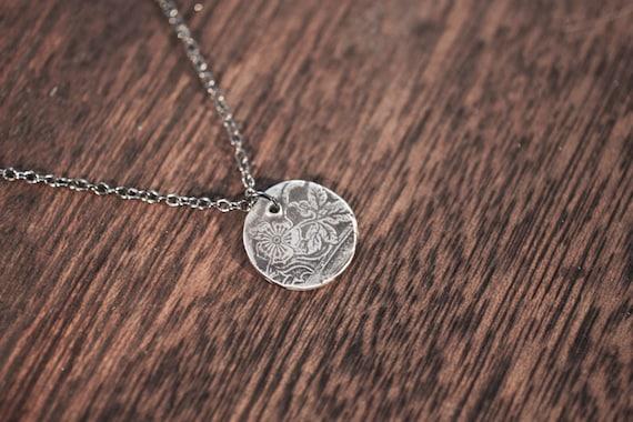 aster - spoon necklace - leaf necklace - flower necklace - leaf charm - leaf pendant - sterling silver