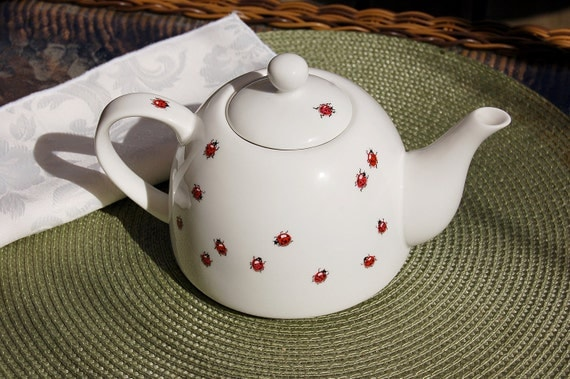Ladybug Party Hand Painted Tea Pot