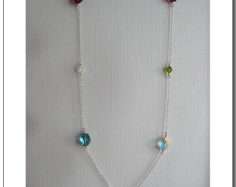Rainbow Candy Opera Necklace - made with Swarovski Crystals