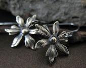 Brass Earrings, Vintage Orchid Earrings