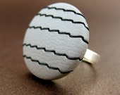 Soft Grey Stitched, Handmade Vinyl Covered Button Ring