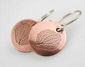 Hydrangea Petal Earrings, Botanical Jewelry, Copper Earrings