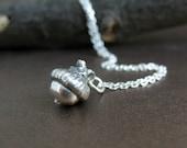 Tiny Acorn Necklace, Silver Acorn Necklace, Preserved Botanical Jewelry