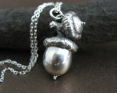 Sterling Silver Acorn Necklace, Budding Offspring, Preserved Botanical Jewerly