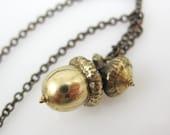 Medium Acorn Necklace, Bronze Acorn Necklace, Budding Acorn Necklace