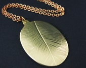 Feather Necklace, Handmade Preserved Nature Brass Necklace