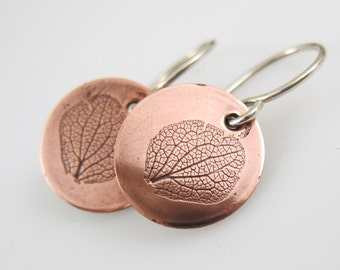 Hydrangea Petal Earrings, Botanical Jewelry, Copper Earrings