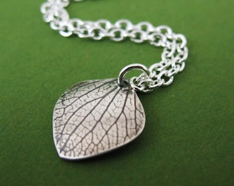 Pressed Hydrangea Petal, Preserved Botanical, Handmade Silver Necklace