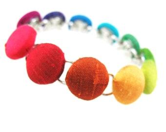 Rainbow Fabric Covered Button Bracelet,  Silk Bracelet