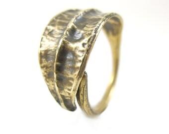 Bronze Ring, Iris Seed Pod Ring, Nature Casting