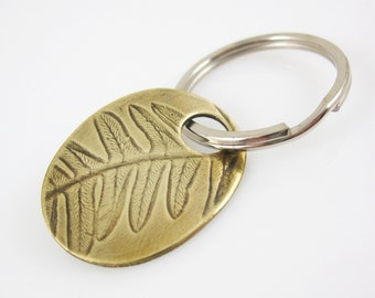 Men's Key Ring, Fern Key Chain, Brass Key Ring