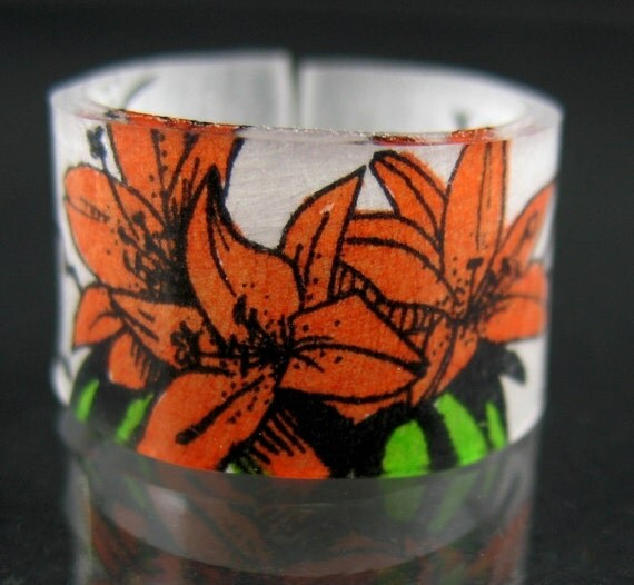 Plastic Ring, Handmade Orange Tigerlily Ring