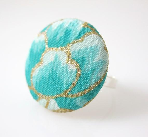 Kimono Ring, Silk Fabric Handmade Button Ring