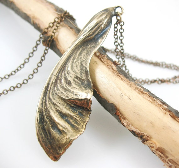 Maple Seed Necklace, Bronze, Real Nature Botanical Jewelry