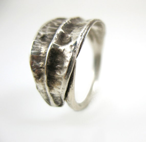 sterling silver ring iris seed pod
