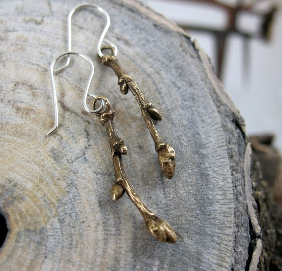 Branch Earrings, Bronze and Sterling Twigs