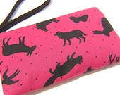 SALE  Wristlet/Zipper pouch , handmade, gift, - Magenta Silhouette