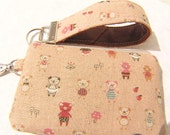 KEY FOB and POUCH set, leather wristlet keychain, handmade gift, gadget bag - Piggy