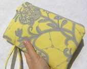 Wedding Clutch 2 pockets,medium,yellow,flowers,discount plan set, wristlet, cotton - Lemon