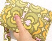 GIFT POUCH, handmade gift, 2 pockets, bridesmaids, flower girls bag - Garden Maze Olive