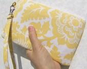 WEDDING CLUTCH, gift pouch, 2 pockets, bridesmaids, custom made - Blockade Blossoms in Dandelion