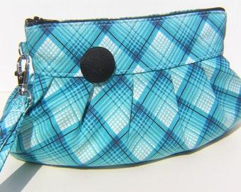 SALE Janbag Wristlet aqua blue,plaid pleated bag,pocket, cosmetic bag,cotton, - Plaid blue