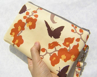 GIFT POUCH 2 pockets bridesmaids bridal wedding clutch wristlet - Orchid in natural