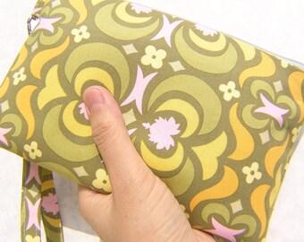 Wedding Clutch 2 pockets,medium,yellow, wristlet, cotton , bridesmaid - Garden Maze Olive