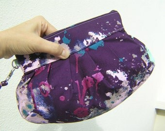 Janbag Wristlet, cotton,pocket, purple, sale ,cosmetic bag, pleated, wedding - Drop Cloth in Purple