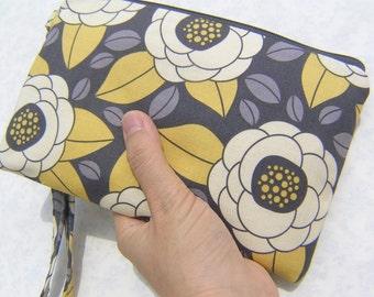 Wedding Clutch 2 pockets,medium,grey,flowers bloom, cotton,wristlet,yellow - Bloom in Granite