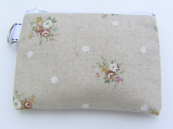 SALE Small Pouch, handmade, gift under 10, zipper pouch - Flowers/white dots