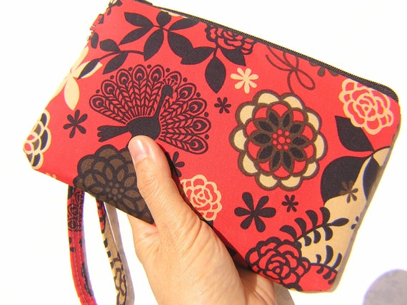 50% OFF, GIFT POUCH 2 pockets bridesmaids red zipper pouch wristlet - Peacock