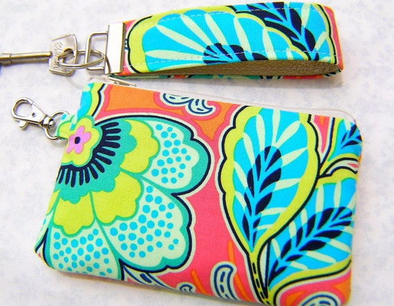 30% off KEY FOB and POUCH set, gadget bag,iphone pouch, leather wristlet - Floral orange