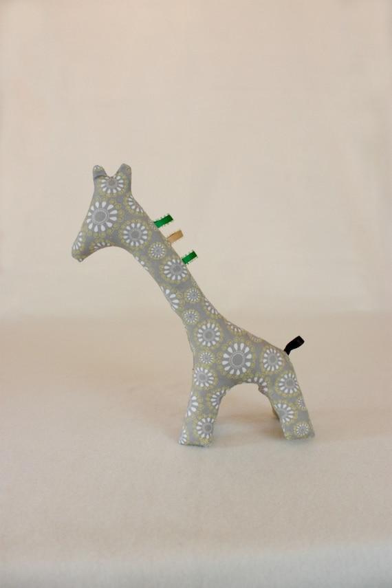 Giraffe Soft Plush Modern Toy - Gray and Yellow Modern Print Fabric
